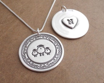 Personalized Mother and Twin Sheep Necklace, Ewe, Lambs, Heart Monogram, Fine Silver, Sterling Silver Chain, Made To Order