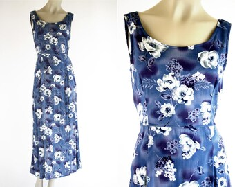 90's Vintage Bentley Brand Blue Floral Print Sleeveless Tie Back Woman's Retro Maxi Dress