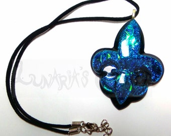 Blue Fleur De Lis - Necklace, Resin Charms, Resin Jewelry, Resin Creations