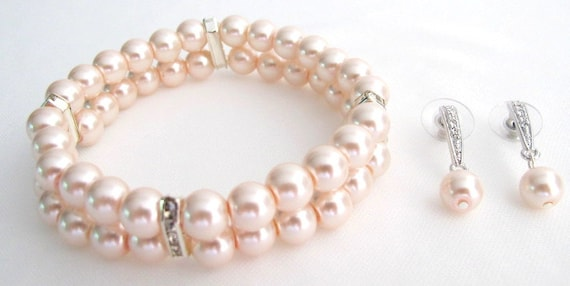 Fine Pastel Pink Pearl Blush Pink Bracelet Matching Earrings Bridesmaid Set Free Shipping In USA