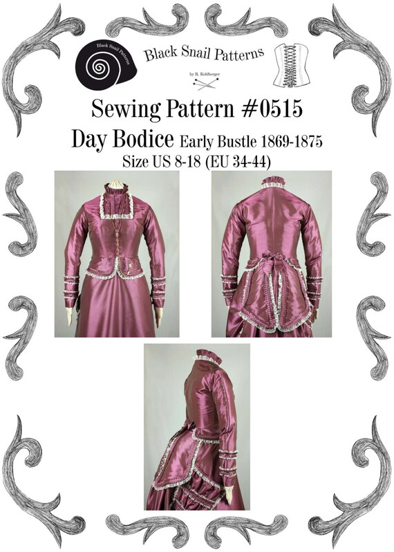 Guide to Victorian Civil War Costumes on a Budget Victorian Bodice Early Bustle PDF Sewing Pattern #0515 Size US 8-30 (EU 34-56) $7.06 AT vintagedancer.com