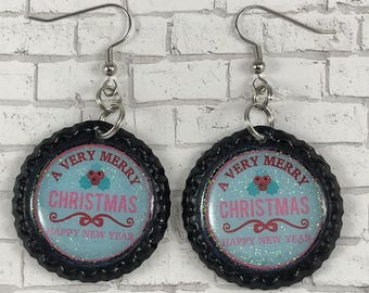 Christmas Earrings, Happy New Year, Holiday Jewelry, Stocking Stuffer, Cyber Monday, Bottle Cap Jewelry, Gift for Her