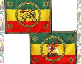 Imperial Standard[drs]Flag Banner Wall hanging(Back and front)/(roots reggae dub rastafari africa ethiopia jamaica haile selassie i)