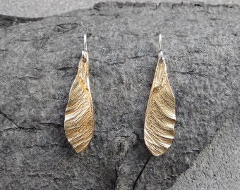 Small Samaras - Dangle Earrings - Helicopter - Maple Seeds - Bronze Earrings - Made to Order