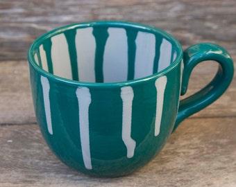 28 ounce mug, Teal / White Extra large, Coffee Addict, super size deep teal and gray modern drip mug