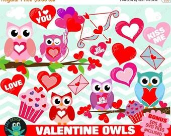 75% OFF SALE Valentines Owls Clipart, Valentine Clipart, Valentine Heart Clipart - UZ870