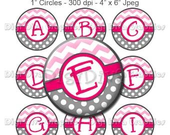 Pink and Grey Chevron Alphabet Bottle Cap Images Digital Collage 1 Inch A-Z Digi - Instant Download - BC1007