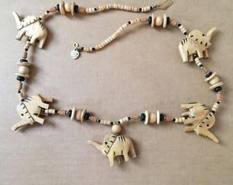 Unique Elephant Wood Necklace 27 inch