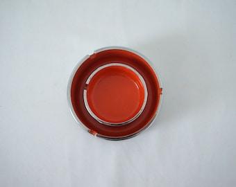 Groovy Vintage Chrome and Melamine Ash Trays Orange 60s 70s Hip