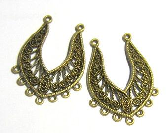 6 Earring drops antique bronze boho gypsy earring hoops hippie jewelry findings bohemian  style antique jewelry B5753 (F3)