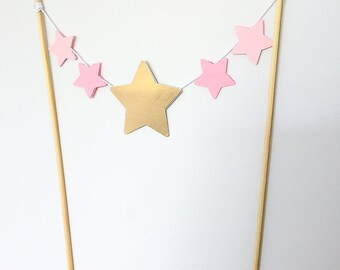 Pink and Metallic Gold stars Cake Topper