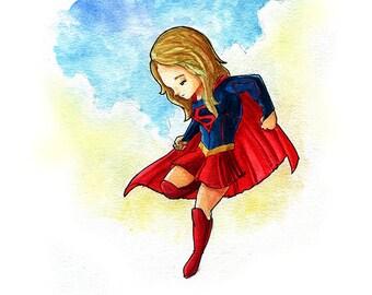 Supergirl Fan Art Watercolor Print