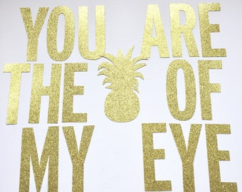 You are the Pineapple of my Eye glitter banner Fiesta Summer Birthday Party Bachelorette Party Pineapple Party Flamingo Party Decor