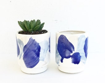 Watercolor Blues Handmade Planter Pot