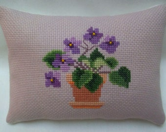 African Violet Cross Stitch Mini Pillow, Houseplant Mini Pillow, Shelf Pillow