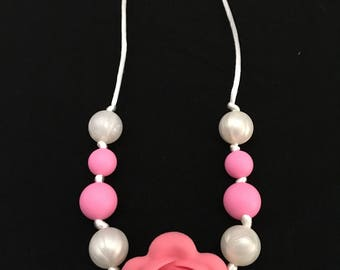 Coral pink rose flower Chewelry necklace, chew jewelry, pearl, silicone chew beads, sensory jewelry, pink