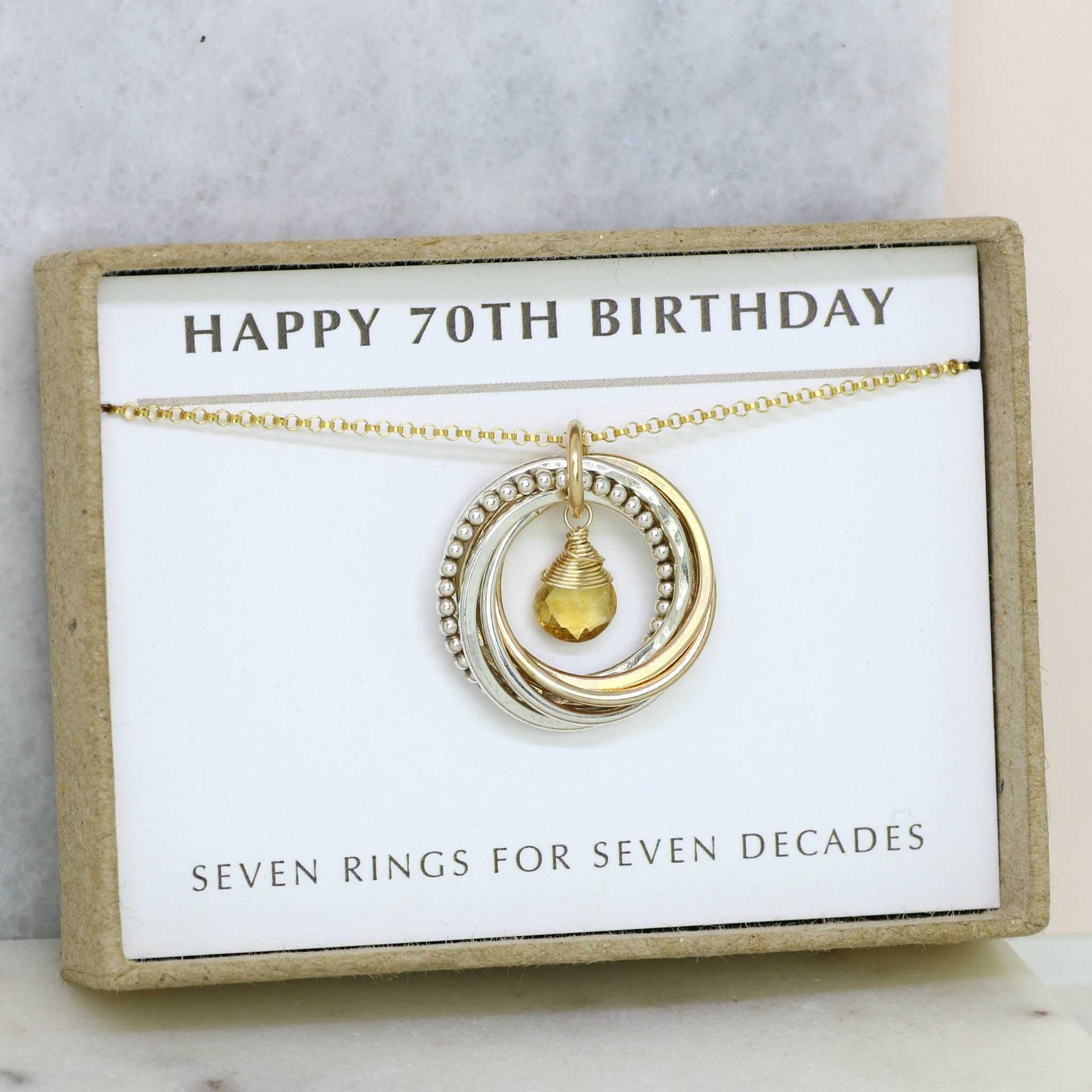 70th Birthday Gift November Birthstone Necklace Citrine For Grandma Mom