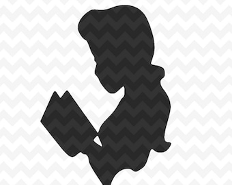Belle Svg, Belle reading svg cutting file, Beauty and the Beast svg and png instant download for cricut and silhouette