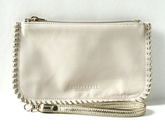 Leather Wristlet - The Hoffman in Pale Peach and Gold