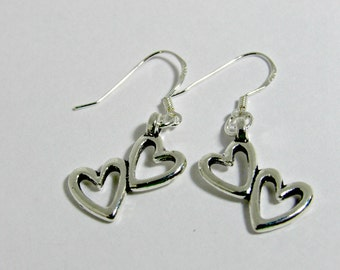 Silver Double Heart Earrings, Sweetheart Earrings, I Love You Earrings, Silver Heart Earrings, Holiday Gift, Artistry Jewels
