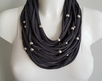 Cotton necklace, fabric necklace, multi strand necklace, grey necklace, upcycled necklace
