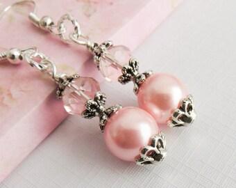Blush Pink Bridesmaid Earrings, Bridesmaid Earrings, Bridesmaid Gift, Pink Wedding Jewelry, Bridal Party Gift