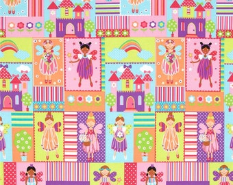 FREE SHIPPING - Princess Charming Fairy Squares brite - Michael Miller - by the continuous YARD