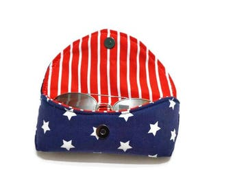 Stars & Stripes Sunglasses Case, Hard Sunglasses Case, Red Sunglasses Case, Sunnies Case, Red White and Blue, Eyeglasses Case