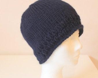 Hand knit blue alpaca wool hat