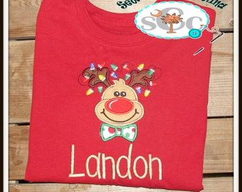 Personalized Christmas Lights Reindeer with Bow Tie Shirt/Bodysuit, Christmas Shirt, Boys Christmas Shirt