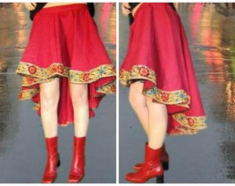 Bohemian Red Linen Embroidered Hi Low Skirt// Large// Festival Skirt// emmevielle