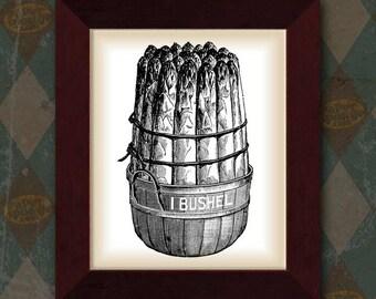Asparagus Bundle in Bushel Basket Collage Vintage Digital Image Transfer Download 300 dpi for Pillows Totes Bags Napkins Towels