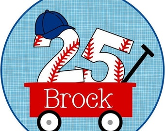 ON SALE Baseball Wagon with your favorite player's number Iron On