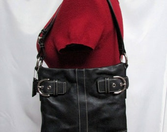 Vintage Coach Slim Buckled Zip Top Soho Black Leather Satchel Shoulder Purse Handbag With Contrast Stitching GVC