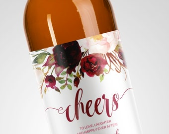 Custom Flower Engagement Wine Label // Engagement Wine Gift // Engagement Party Gift // Burgundy and Purple Label
