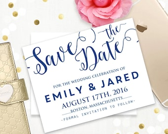 Navy Save the Date Card Printable Template - Navy blue, indigo, cobalt, royal blue ANY Сolor Wedding Save the Date Postcard INSTANT DownLoad