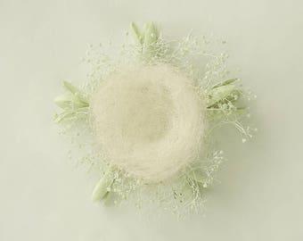 Newborn Digital Background (Organic, Natural, Nest, Sage/Green/White)