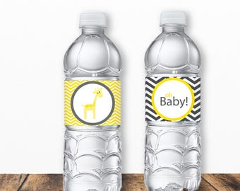 Yellow Giraffe Baby Shower Printable Water Bottle Labels - Printable PDF - Instant Download - Immediate Download