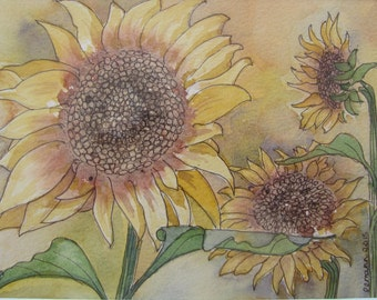 SALE - Sunflowers - Original Watercolour and Pen, Sunflowers, Yellow, Green, Abstract, Art & Collectables.