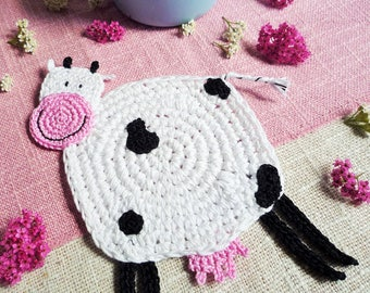 Cow Kids Coaster - Crochet Cow Coaster - Cow Mug Rug - Animal Coaster - Farmhouse Style Gift - Baby Shower Gift - Gift for Kids - Baby Gift