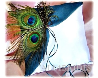 Peacock Wedding Teal Ring Bearer Pillow - Peacock Feathers and Teal Pillow - Ceremony Decor