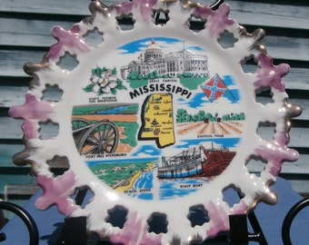 Mississippi souvenir plate, wall decor, 8 inch vintage plate of Mississippi State and its land marks