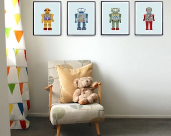 Robot prints, Set of four prints, Robot nursery art, Kids print set, Retro robot art, Art for boys room, Kid decor, Vintage nursery prints