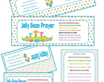 Easter JELLY BEAN PRAYER Treat Bag Toppers Tags diy Party Favor Bags Religious