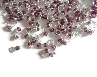 mini charms 5 gr / seed beads 11/0 handmade plum