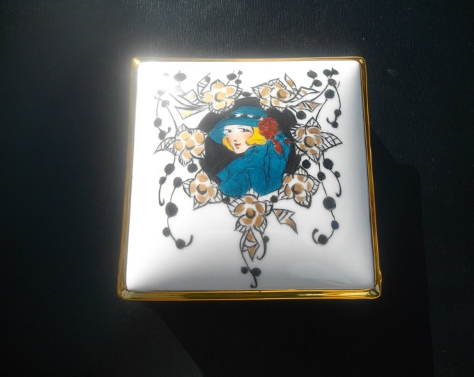 square candy / handpainted / porcelain/art deco