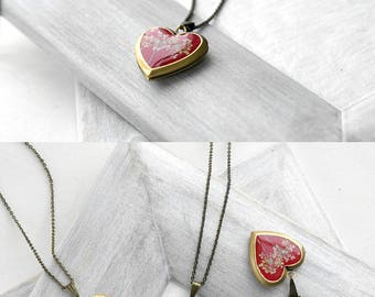 Red heart locket necklace Boho locket necklace anniversary gift Heart necklace resin Heart charm necklace love gift Heart pendant for women