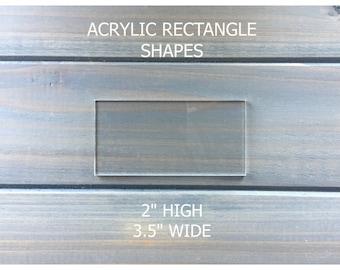 "Clear Acrylic Rectangle Tiles - Acrylic Place Cards- Wedding Place Cards- 3.5"" x 2"""