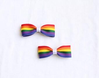 Rainbow Hair Bow Set - 2 Rainbow Stripes Spectrum Hair Clips French Barrettes - Rainbow Pigtails