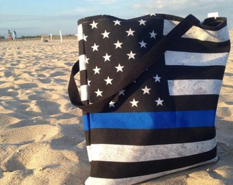 Thin Blue Line Tote Bag or Beach Bag - 2 Sizes - American Flag
